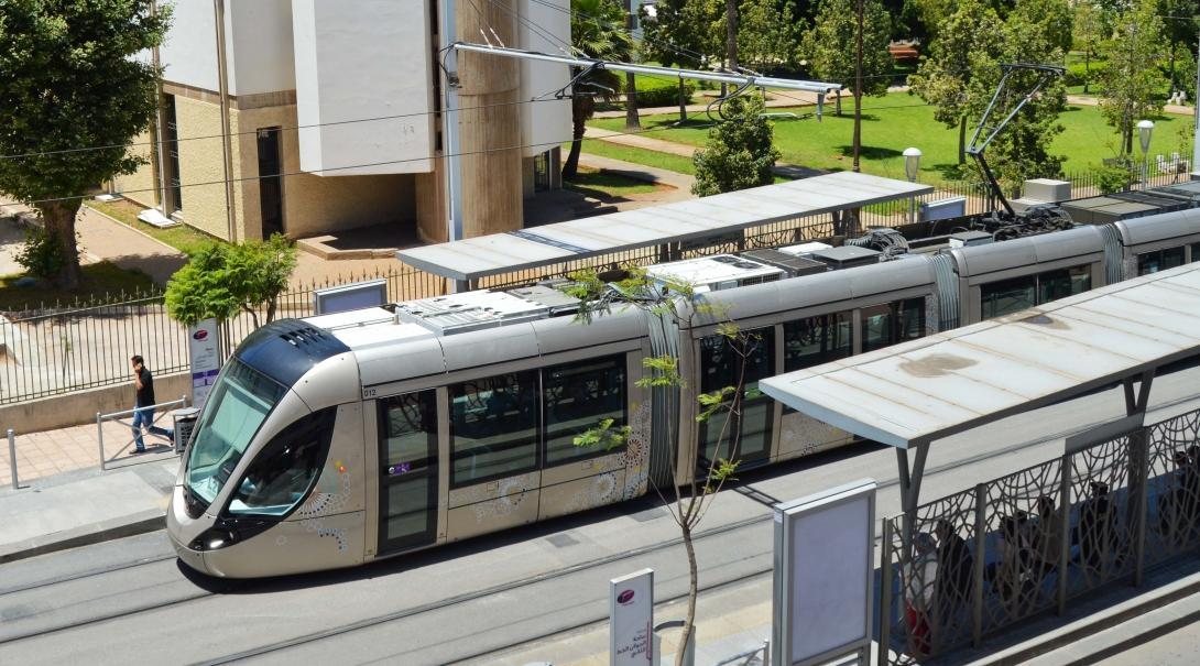 A tram at a station in Rabat, Morocco
